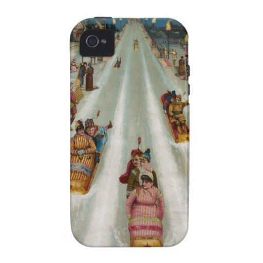 Vintage Toboggans On a winter night iPhone 4/4S Case