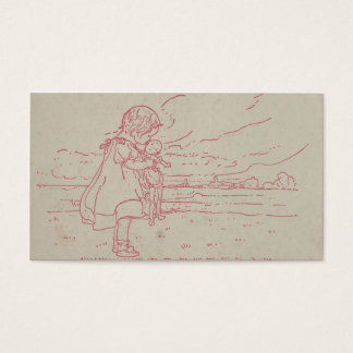 Vintage toddler girl with baby doll business card