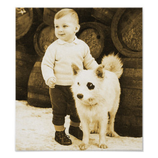 Vintage Toddler With His Mutt Poster