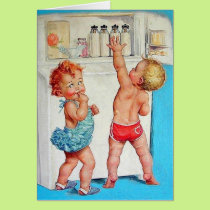 Vintage Toddlers Reaching For Baby Bottles Card