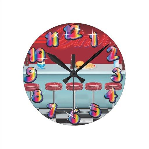 Vintage todo el comensal americano reloj redondo mediano