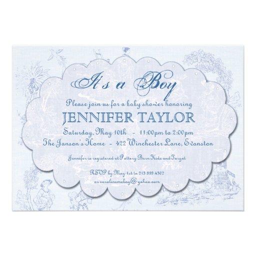 Vintage Toile Baby Shower Invitation Blue