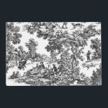 """Vintage Toile Black&amp;White Placemat<br><div class=""""desc"""">Vintage Toile Black&amp;White Placemat in a vintage Toile fabric print with grey and black Houndstooth reverse</div>"""
