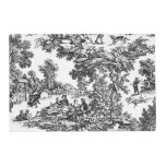 Vintage Toile Black&amp;White Placemat<br><div class='desc'>Vintage Toile Black&amp;White Placemat in a vintage Toile fabric print with grey and black Houndstooth reverse</div>