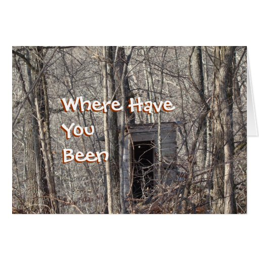 vintage Toilet in the woods- customize Greeting Cards