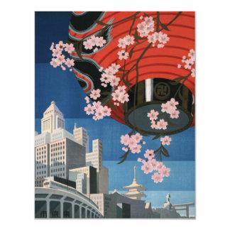 Vintage Tokyo travel Personalized Invitations