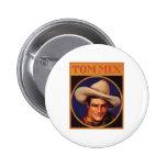 Vintage Tom Mix Cowboy Cigar Label 2 Inch Round Button