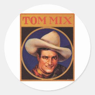 Vintage Tom Mix Cowboy Cigar Label Classic Round Sticker