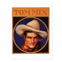 Vintage Tom Mix Cowboy Cigar Label Postcard