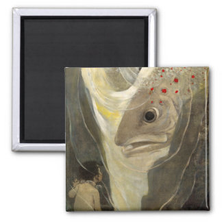 Vintage Tom Thumb Koi Pond Water Color Painting 2 Inch Square Magnet