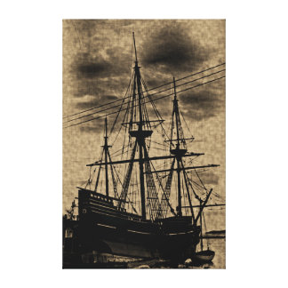 Vintage Toned Mayflower Ship Wrapped Canvas Art
