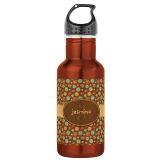 Vintage Tones Floral Pattern Stainless Steel Water Bottle