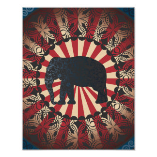 Vintage Too Circus Elephant Free Mandarin Poster
