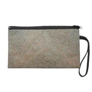 Vintage Tooled Leather Look  Bagettes Bag Wristlet