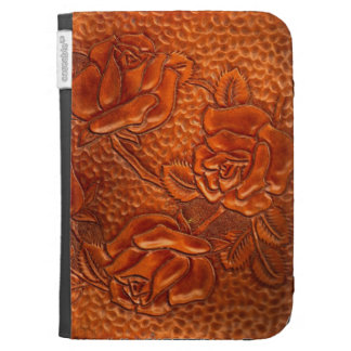 Vintage Tooled Western Leather Roses Kindle Folio Cases
