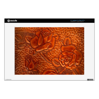 """Vintage Tooled Western Leather Roses Decal For 13"""" Laptop"""