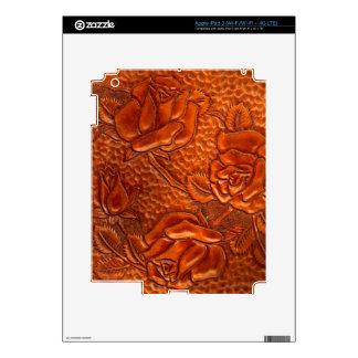 Vintage Tooled Western Leather Roses iPad 3 Decal