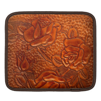 Vintage Tooled Western Leather Roses Sleeve For iPads