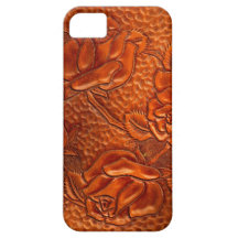 Vintage Tooled Western Leather Roses iPhone 5 Case