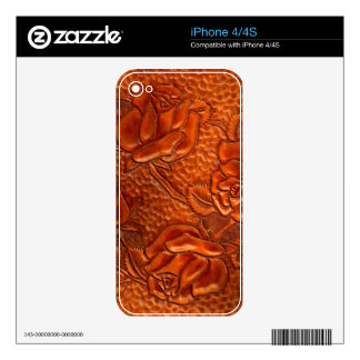 Vintage Tooled Western Leather Roses iPhone 4 Decals