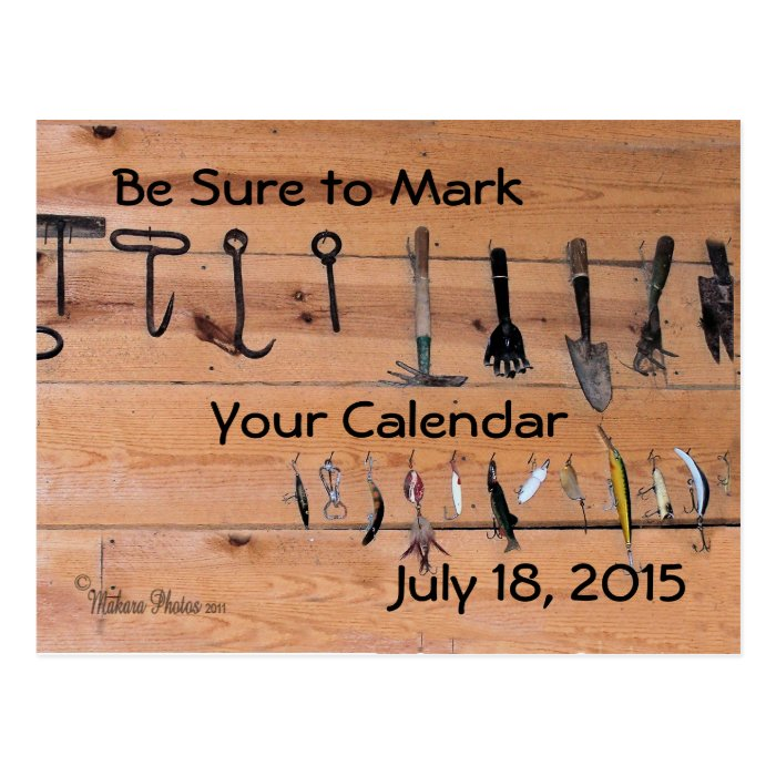 Vintage tools on a wood wall- customize postcard