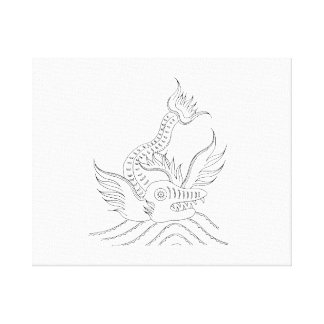 Vintage toothed fish jagged sketch.png canvas print