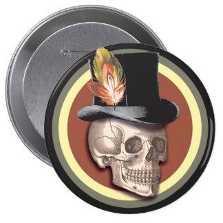 Vintage Top Hat Skull Button