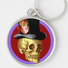 Vintage Top Hat Skull Vivid Keychain