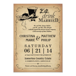 Vintage Top Hat Wedding Invitations