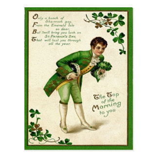 Vintage Top Of The Morning To You St Patrick's Day Postcard