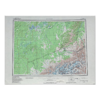 Vintage Topographical Map Mount McKinley Poster