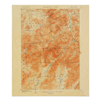 Vintage Topographical Mount Marcy New York Map Poster