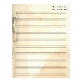 Vintage Torn Book Page Blank Sheet Music 10 Stave Letterhead
