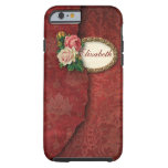 Vintage Torn Damask and Pink Roses Tough iPhone 6 Case