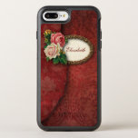 Vintage Torn Red Damask And Roses Otterbox Symmetry Iphone 8 Plus/7 Plus Case at Zazzle