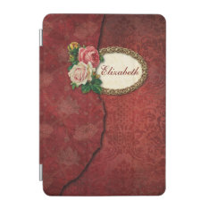 Vintage Torn Red Damask and Roses Personalized iPad Mini Cover at Zazzle