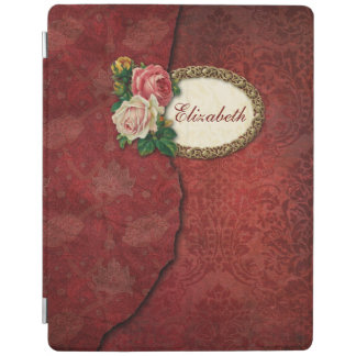 Vintage Torn Red Damask and Roses Personalized iPad Smart Cover