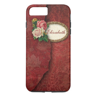 Vintage Torn Red Damask and Roses Personalized iPhone 8 Plus/7 Plus Case