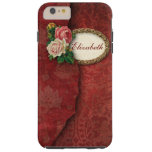 Vintage Torn Red Damask and Roses Personalized Tough iPhone 6 Plus Case