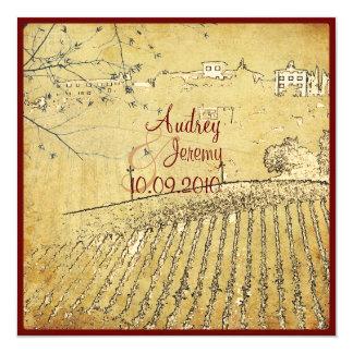 Vintage, Toscana Vinyard/invitaciones del boda Invitación 13,3 Cm X 13,3cm