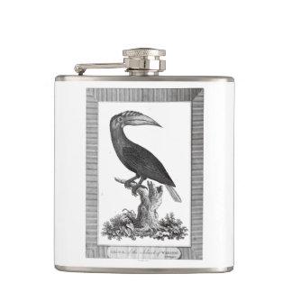 Vintage toucan bird etching flask