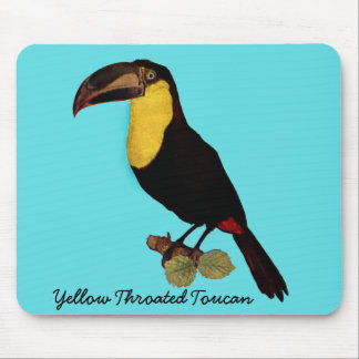 VINTAGE TOUCAN BIRD. YELLOW-THROATED TOUCAN PAD MOUSE PAD