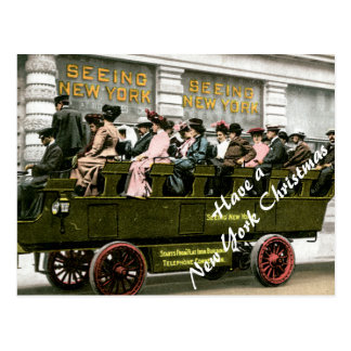Vintage Tour Bus in NYC Christmas Postcard
