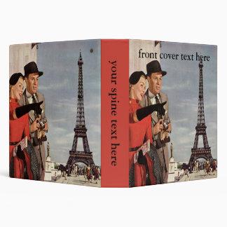 Vintage Tourists Traveling in Paris Eiffel Tower 3 Ring Binder
