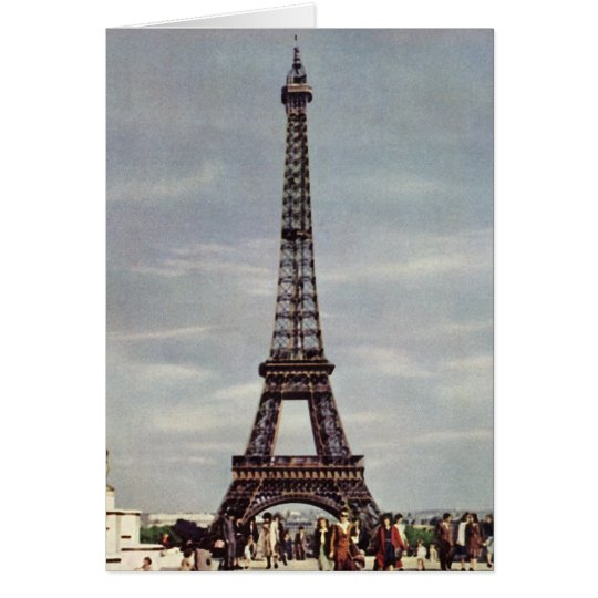 Vintage Tourists Traveling in Paris Eiffel Tower Card