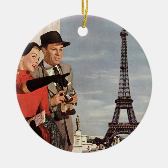 Vintage Tourists Traveling in Paris Eiffel Tower Ceramic Ornament