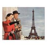 Vintage Tourists Traveling in Paris Eiffel Tower Custom Invitation