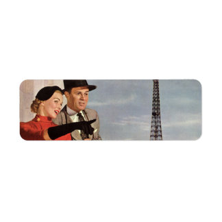 Vintage Tourists Traveling in Paris Eiffel Tower Label