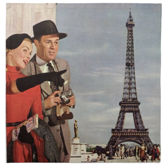 Vintage Tourists Traveling in Paris Eiffel Tower Napkin