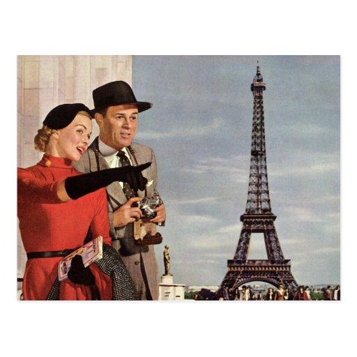 Vintage Tourists Traveling in Paris Eiffel Tower Postcard